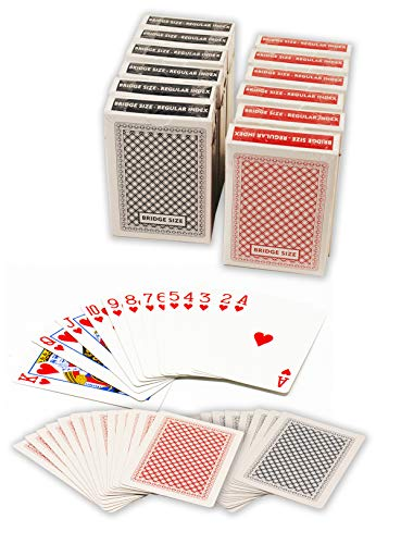ChipsAndGames Value Pack of 12 Decks of Paper Playing Cards with Plastic Coating, 6 Red and 6 Blue (Bridge Size Regular Index)