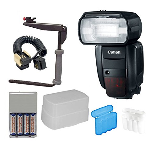 Canon Speedlite 600EX-RT Flash + Deluxe Flash Bracket Accessory Kit for Canon Cameras by Canon