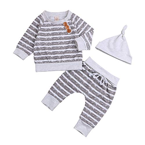 Newborn Infant Baby Boy Girl Cotton Outfit Long Sleeve Romper Pants Hat 3PC Set Take Home Clothes (Gray Stripe, 12-18 Months)