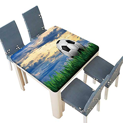 PINAFORE Table in Washable Polyeste Football in Green Grass Over a Sunset Sky Banquet Wedding Party Restaurant Tablecloth 37.5 x 37.5 INCH (Elastic Edge) ()
