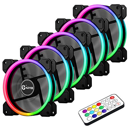 KZYEE 5-Pack Wireless 120mm RGB LED Fan, Dual Light Loop Quite Edition High Airflow Adjustable Color LED Case Fans with Remote Control for Gaming PC Cases by KZYEE