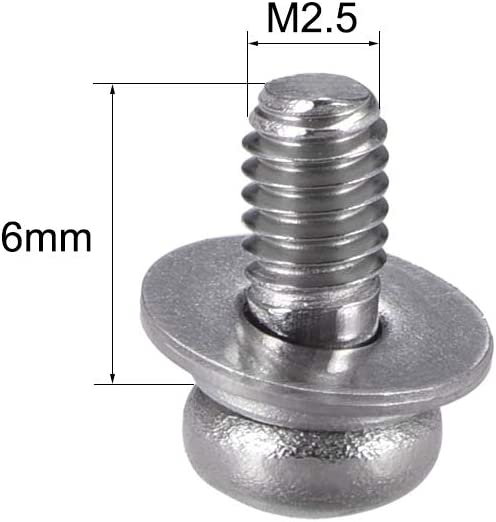 uxcell/® M5 x 30mm Stainless Steel Phillips Pan Head Machine Screws Bolts Combine with Spring Washer and Plain Washers 5pcs