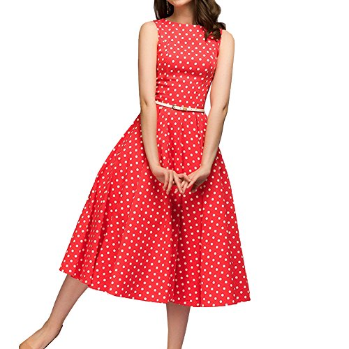 Simple Flavor Women's Vintage Dress Sleeveless O-Neck Party Cocktail Dress (Red, M) ()