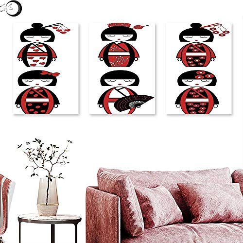 (Anniutwo Girls Home Decor Unique Asian Geisha Dolls in Folkloric Costumes Outfits Hair Sticks Kimono Art Image Triptych Photo Frame Black Red Triptych Art Canvas W 16