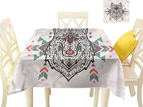 WilliamsDecor Square Tablecloth Tribal,Big Wolf Head Ornaments Jacquard Tablecloth W 60