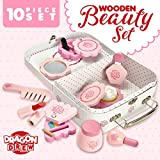 Dragon Drew Wooden Toy Beauty Set - 10 Piece Kit - Girls Salon Set with Makeup, Brush, Mirror and Cosmetics Case - 100% Natural Wood, Nontoxic Paint, Smooth Edges