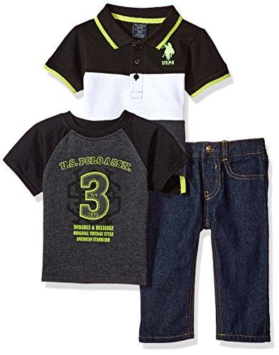 U.S. Polo Assn. - Juego de playera, playera y pantalón para bebés y niños, Pique Polo Black/White, 24m