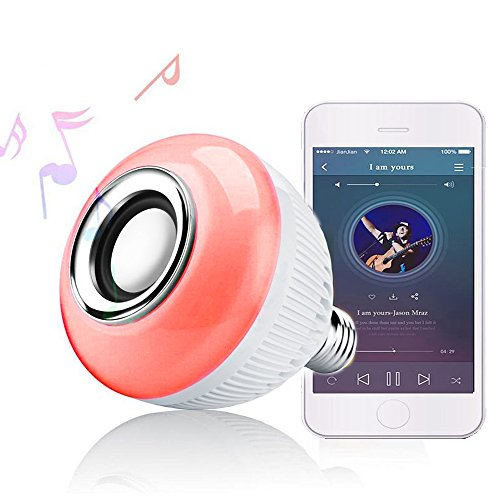 RAYWAY Bluetooth Speaker LED Light - Wireless 16 Multi Color Changing Smart Bulb - Dimmable Colorful Mood Night Lamp - Men Women Gift for Party Kitchen Bedroom - E26 Base - Remote Control