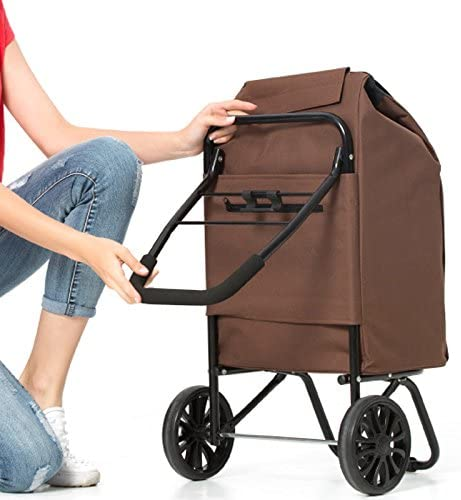 Color : Brown RFJJAL Trolley 35L Large Capacity Lightweight Shopping Trailer Folding Push-Pull Car Safety Reflective Strip