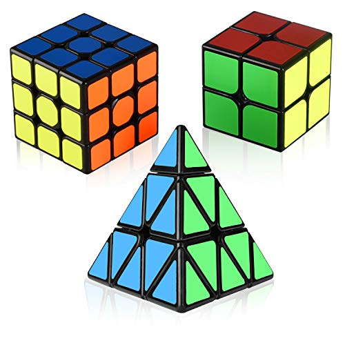 Speed Cube Set, Charlemain Magic Cube Set of 2x2x2 3x3x3 Pyramid Smooth Puzzle Cube Bundle,Puzzle Toys Gifts for Kids and Adult Challenge