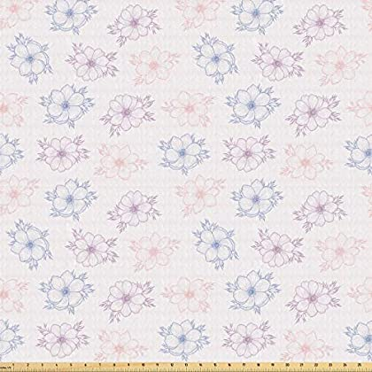 Image of Ambesonne Anemone Flower Fabric by The Yard, Bridal Corsage Design Garden Bedding Plants in Soft Colors, Stretch Knit Fabric for Clothing Sewing and Arts Crafts, 10 Yards, Dried Rose Slate Blue Home and Kitchen