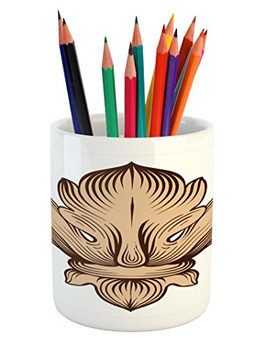 Lunarable Vintage Modern Pencil Pen Holder, Baroque Acanthus Leaves Fleur de Lis Antique Heraldic Pattern, Printed Ceramic Pencil Pen Holder for Desk Office Accessory, Brown and Sand Brown Baroque Pen