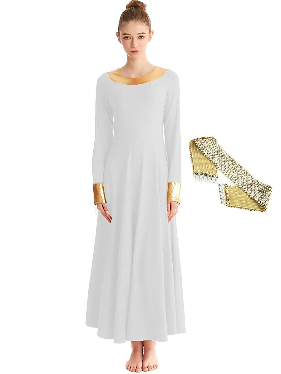 MYRISAM Womens Long Sleeve Praise Dance Robe Liturgical Worship Dress Celebration of Spirit Costume w//Sequin Elastic Belt