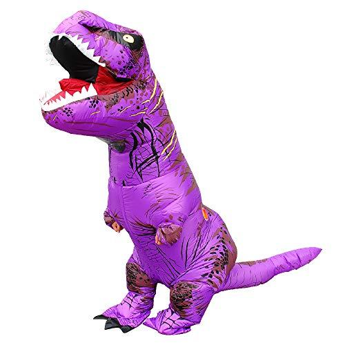 BUYITNOW Adult Kids Inflatable T-rex Costume Dinosaur Halloween Suit Cosplay Fantasy Costumes Purple]()