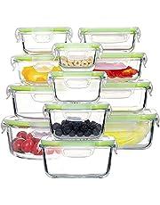 GENICOOK Zestaw szklanych pojemników na żywność, nie zawiera BPA i zatwierdzonych przez LFGB, do domowej kuchni lub restauracji (12 sztuk)