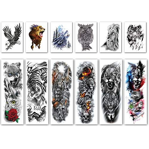 Leoars Full Sleeve Temporary Tattoos Tiger Lion Theme- Waterproof Tiger Lion Arm Tattoos Temporary and Extra Large Tattoo Sleeves for Men  and Women -12 Sheets (The Best Female Tattoos)