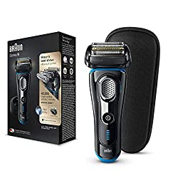 Braun Series 9 Electric Shaver for Men 9242s, Wet and Dry, Integrated Precision Trimmer, Rechargeable and Cordless Razor with Charging Stand and Travel Case, Black/Eloxal Blue