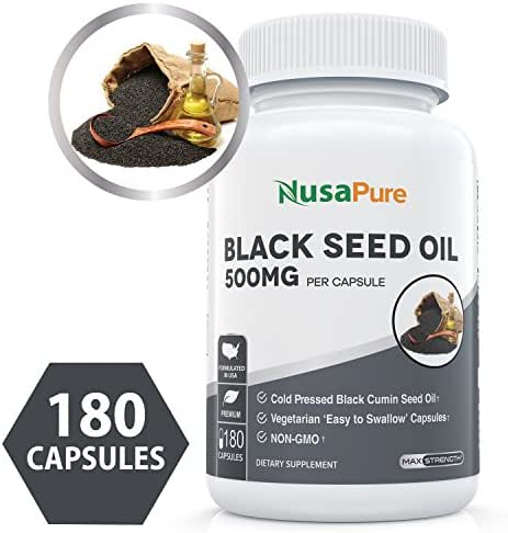 Black Seed Oil 180 Softgel Capsules (Non-GMO & Vegetarian) Cold-Pressed Nigella Sativa Producing Pure Black Cumin Seed Oil with Vitamin E