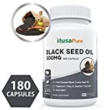 Best Black Seed Oil 180 Softgel Capsules (Non-GMO & Vegetarian) Made from Cold Pressed Nigella Sativa Producing Pure Black Cumin Seed Oil - Made in The USA - 500mg Each - 100% Money Back Guarantee