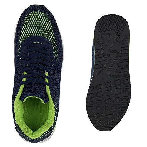 Unisex Laufschuhe Damen Herren Sportschuhe Neon Blumen Metallic Leder-Optik Schuhe Animal Print Sneakers Runners Profilsohle Flandell Dunkelblau Grün