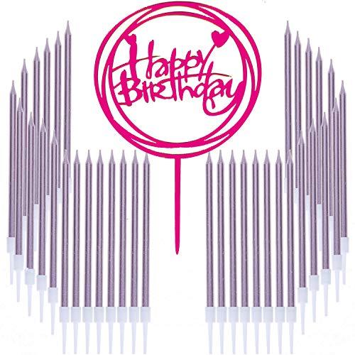 36 Count Long Thin Metallic Slow Burning Birthday