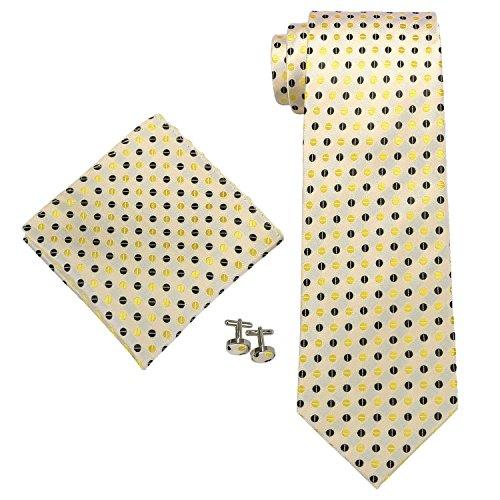 """Landisun Polka Dots Mens SILK Tie Set: Tie+Hanky+Cufflinks 555 Yellow Black, 3.75"""" W x 59"""" L"""