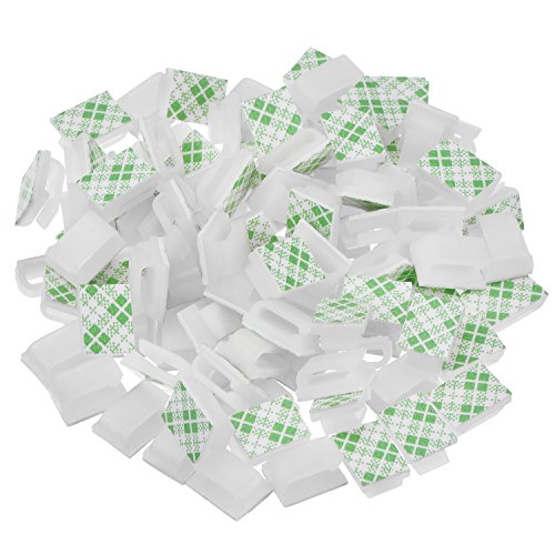 Hicarer 100 Pieces Adhesive Cable Clips Wire Clips Cable Management Wire Cord Holder (13 x 10 mm, White)