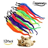 Cat Toy Wands, MOMODA12 Pcs Replacement Pack of Fun Worms for Exerciser and Interactive Cat and Kitten Toy Wands, 6 Colours