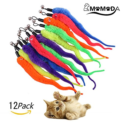 Pet Worm (Cat Toy Wands, MOMODA12 Pcs Replacement Pack of Fun Worms for Exerciser and Interactive Cat and Kitten Toy Wands, 6 Colours)