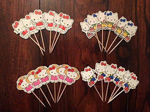 (Hello Kitty Cupcake Toppers Hello Kitty Birthday Party Supplies SET OF)