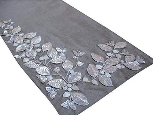 Handmade, Designer, Decorative Table Runners - Silver Beige, Silver, Ivory - 14 x 36 inch - Silk - Beaded Table Runner Silver Beautiful Butterfly Mother Of Pearl Embroidered Elegant Table ()