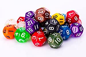 25 Count Assorted Pack of 12 Sided Dice - Multi Colored Assortment of D12 Polyhedral Dice