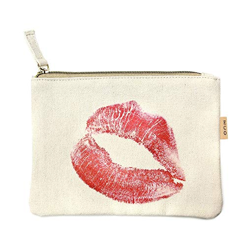 Me Plus Eco Zipper Pouch Stylish Printed, Traveler Organizer, Cosmetic Small Makeup, Students BTS Organization Bag (Lips)