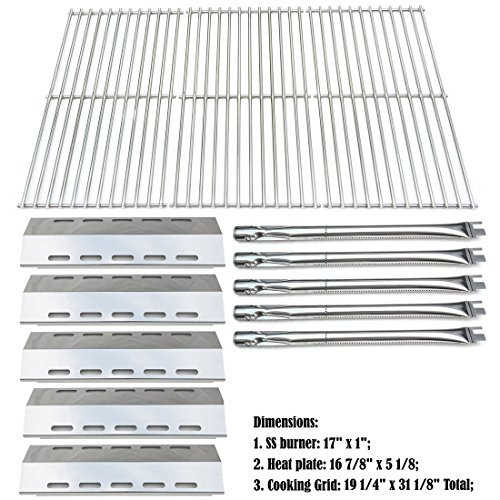 Ducane Outdoor Grills - Bar.b.q.s Replacement Ducane 30400042,30400043,30558501 Gas Grill Burners,Heat Plates,Cooking Grid (SS Burner + SS Heat Plate + Solid Stainless Steel Cooking Grid)