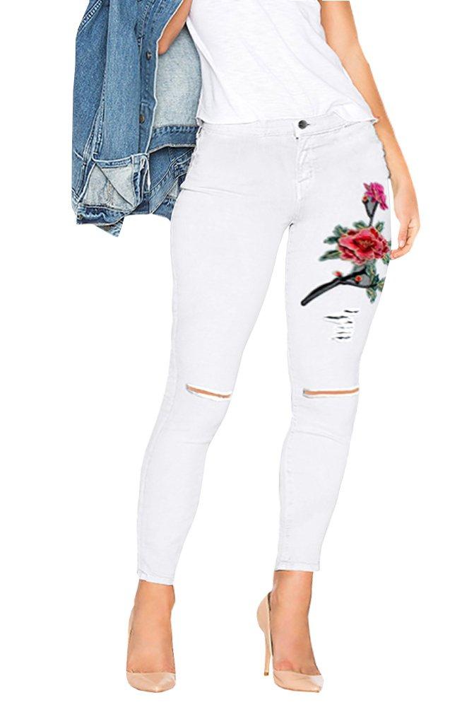 Ermonn Women's High Waist 3D Flower Embroidery Knee-cut Stretch Skinny Jeans Denim Pants (Large, White)