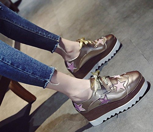 KHSKX-The Air Sponge Cake Thick Single Shoes Retro-Head Hill With The High-Heel Shoes Women Increased Leisure 37 9h8qK