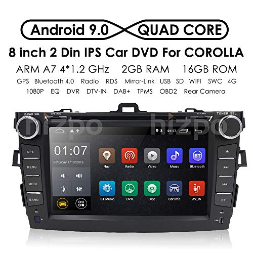 (hizpo Android 9.0 Double Din Car Stereo Radio with Bluetooth for Toyota Corolla 2007 2008 2009 2010 2011 8 Inch Touch Screen GPS Navigation WiFi Mirrorlink Steering Wheel Control Backup Camera)