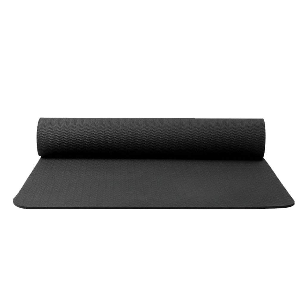 NOIR  SHJICH Tapis de Yoga TPE Tapis de Yoga en Caoutchouc Naturel Anti-dérapant épais de 8 mm Monochrome 183  61cm