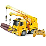 DOUBLE  E 1:20 RC Crane Toy Truck Authorized by Mercedes-Benz Arocs Full Function Remote Control Truck Construction Vehicle Toys with Lights and Simulation Sound.