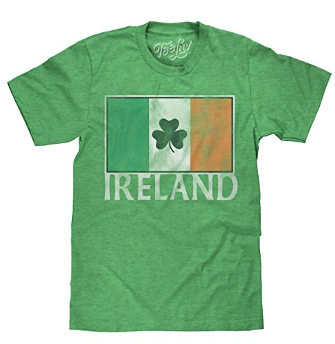 Tee Luv Ireland Shamrock T-Shirt - Irish Flag Shirt (X-Large)  Green Heather