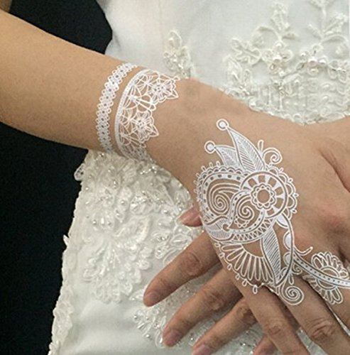 Welliestr set of 9 white lace temporary tattoo sticker for White temporary tattoos