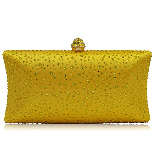 Women Bride Purse Rhinestone with Evening Bag Wedding Handbag Evening Yellow Clutch Purse Party Beaded Sequin Handbag Prom 4qcE6ZU
