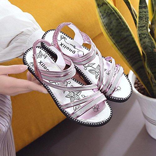 Sandalias para Mujer, RETUROM Nuevo verano cómodo de Bling sandalias zapatos Púrpura