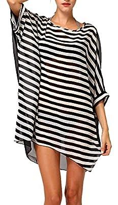 DQdq Sexy Women's Oversized Striped Beach Bikini Swimwear Cover-up