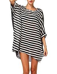 DQdq Women's Striped Beach Bikini Swimwear Cover-up