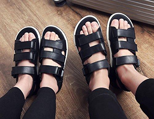 ICEGREY Klettverschluss 46 Knöchelriemchen Unisex Sandalen Schwarz Mode Leder Sandale 7wX7Z8rq