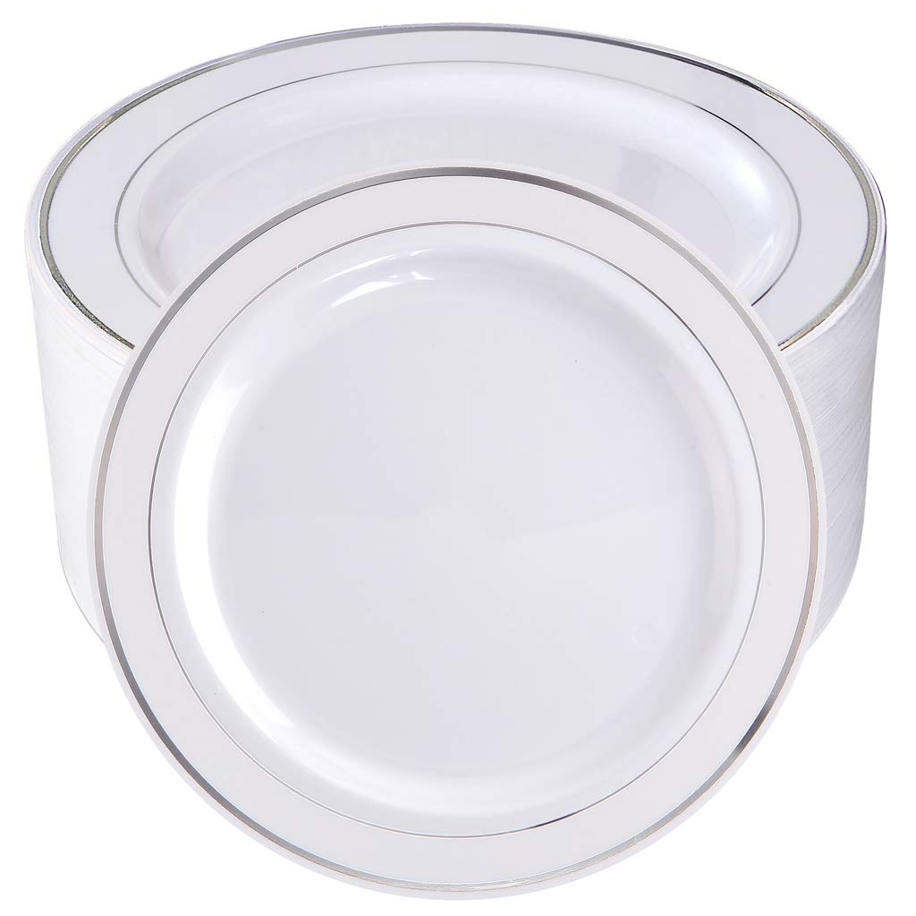 BUCLA 100Pieces Silver Plastic Plates-10.25inch Silver Rim Disposable Dinner Plates-Ideal for Weddings& Parties