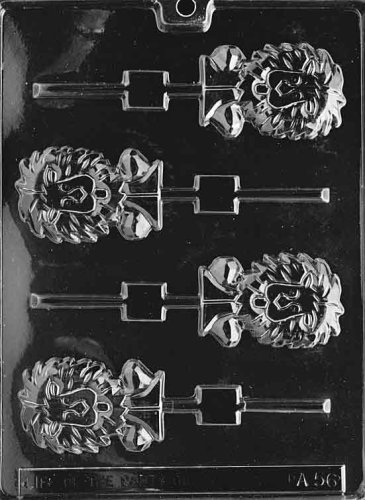 (Cybrtrayd Life of the Party A056 Lion Lolly Chocolate Candy Mold in Sealed Protective Poly Bag Imprinted with Copyrighted Cybrtrayd Molding Instructions)