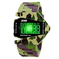 Jelercy Kids Military LED Digital Sport Watch Seven Colours Back Light 164FT 50M Water Resistant Army Green
