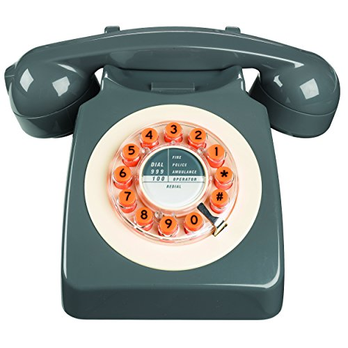 Wild Wood Rotary Design Retro Landline Phone for Home, Concrete Grey (School Old Ringer)